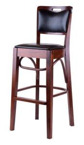 Bst-2423 Snygg barstol i trä med läderklädsel