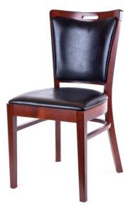 Margareta elegant restaurangstol i trä med lädersits och rygg